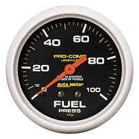 Click for a larger picture of Pro Comp 2 5/8 inch Liquid Filled Fuel Press Gauge, 100psi