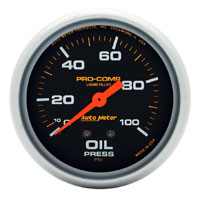 Click for a larger picture of Pro Comp 2 5/8 inch Liquid Filled Oil Pressure Gauge, 100psi