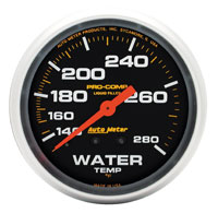 Click for a larger picture of Pro Comp 2 5/8 Liquid Filled Water Temp Gauge:140-280F 6 ft