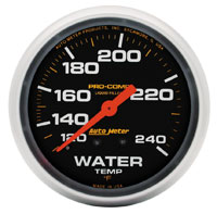 Click for a larger picture of Pro Comp 2 5/8 Liquid Filled Water Temp Gauge, 120-240 F 6ft