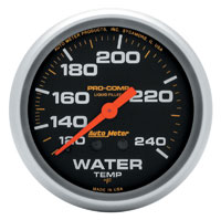Click for a larger picture of Pro Comp 2 5/8 Liquid Filled Water Temp Gauge:120-240F 12ft