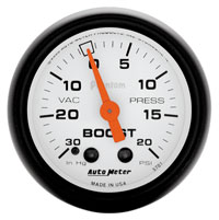 "Click for a larger picture of Auto Meter 2"" Phantom Boost/Vacuum Gauge, 30 In/Hg-20 psi"