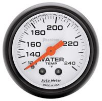 "Click for a larger picture of Auto Meter 2"" Phantom Water Temp Gauge, 120-240F, 6 ft"