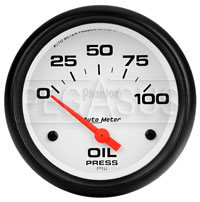 "Click for a larger picture of Auto Meter 2-5/8"" Phantom Oil Press Gauge, 100 psi Electric"