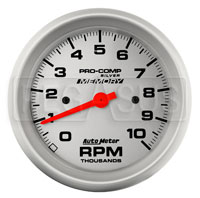 Click for a larger picture of Pro Comp Silver 3.75 inch Electric Tach, 10k RPM w/ Telltale
