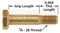 Click for a larger picture of AN4 Airframe Bolt, 1/4-28 Thread