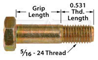Click for a larger picture of AN5 Airframe Bolt, 5/16-24 Thread