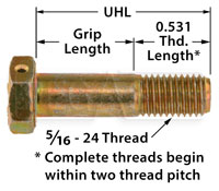 Click for a larger picture of AN5 Airframe Bolt - Drilled Head, 5/16-24 Thread