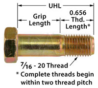 Click for a larger picture of AN7 Airframe Bolt, 7/16-20 Thread