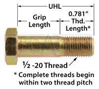 Click for a larger picture of AN8 Airframe Bolt, 1/2-20 Thread