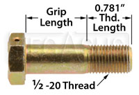 Click for a larger picture of AN8 Airframe Bolt - Drilled Head, 1/2-20 Thread