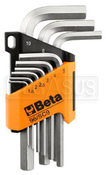 Click for a larger picture of Beta 96/SC9 Set of 9 Chrome Hex Keys in Locking Holder, mm