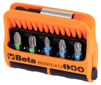 "Click for a larger picture of 860MIX/A10 Set of 10 1/4"" Hex-Drive Bits in Dispenser Case"