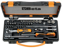 "Click for a larger picture of 900/C11 Handle / Bit / Socket Set w/Case, 1/4"" Drive, Metric"