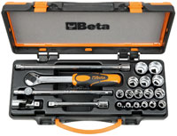 "Click for a larger picture of 910A/C16 Handle and Socket Set w/Case, 3/8"" Drive, Metric"