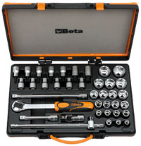 "Click for a larger picture of 920A/C33 Handle and Socket Set w/Case, 1/2"" Drive, Metric"