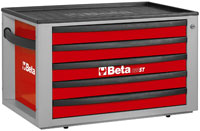 Click for a larger picture of Beta Tools C23ST-R Five-Drawer Portable Tool Chest, Red