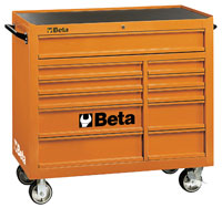Click for a larger picture of Beta C38 11-Drawer Roller Tool Cabinet, Orange - Ships Truck