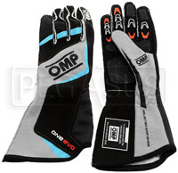 Click for a larger picture of OMP 2016 One Evo Driving Glove, Navy Blue w/Cyan size Medium