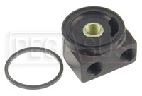 Click for a larger picture of Remote Oil Filter Adapter, 90 Deg Rotating, 3/4-16 Thread