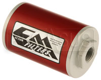 Click for a larger picture of Canton 4 Inch Inline Fuel Filter, 8 Micron, 1/2 NPT Ports