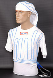 Click for a larger picture of Cotton Cool Water Shirt, White, Short Sleeve with Hood