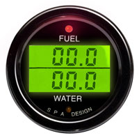 Click for a larger picture of SPA Fuel Press./ Water Temp. Gauge - Black Face, Black Bezel