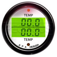 Click for a larger picture of SPA Design Temp/Temp Gauge, White Face - Black Bezel