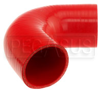 "Click for a larger picture of Red Silicone Hose, 3.00"" I.D. 135 degree Elbow, 4"" Legs"