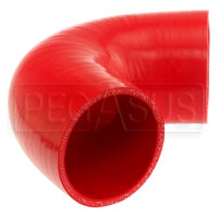 """Click for a larger picture of Red Silicone Hose, 3 1/4"""" I.D. 135 degree Elbow, 4"""" Legs"""
