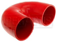 "Click for a larger picture of Red Silicone Hose, 3.00"" I.D. 180 degree Elbow, 4"" Legs"