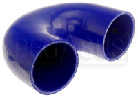 """Click for a larger picture of Blue Silicone Hose, 3 1/2"""" I.D. 180 degree Elbow, 4"""" Legs"""