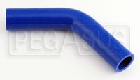 """Click for a larger picture of Blue Silicone Hose, 1 1/8"""" I.D. 45 degree Elbow, 4"""" Legs"""