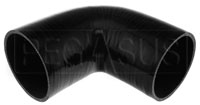 """Click for a larger picture of Black Silicone Hose, 4 1/2"""" I.D. 90 degree Elbow, 6"""" Legs"""
