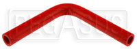 "Click for a larger picture of Red Silicone Hose, 1/2"" I.D. 90 degree Elbow, 6"" Legs"