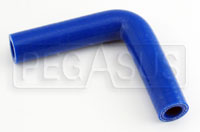 "Click for a larger picture of Blue Silicone Hose, 5/8"" I.D.  90 degree, 4""  Legs"