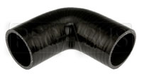 "Click for a larger picture of Black Silicone Hose, 2 1/8"" I.D.  90 degree, 4"" Legs"