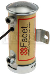 Click for a larger picture of Facet Cylindrical Style 12 Volt Fuel Pump, 4 to 5 max psi