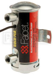 Click for a larger picture of Facet Cylindrical 12v Fuel Pump, 1/4 NPT, 6.5-8 psi, Red Top
