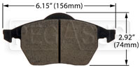 Click for a larger picture of Hawk Brake Pad: Audi, VW (D687), w/ Wear Sensor Slot