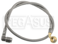 """Click for a larger picture of 600 Stainless Hose, 10mm 45 Up/45 Lft Banjo-90 St St, 28.25"""""""