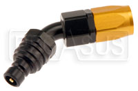Click for a larger picture of Quick-Disconnect Plug to 8AN Hose End, 45 Degree