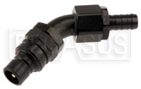 Click for a larger picture of Quick-Disconnect Plug to 10AN Hose Barb, 45 Degree