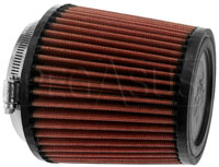Click for a larger picture of K&N Clamp On Filter, Round Tapered, 4 FL, 5.38 B x 5.0 H