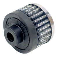 Click for a larger picture of K&N Rubber Base Crankcase Vent Filter, 1.5 H x 2.0 D, 1/2 ID