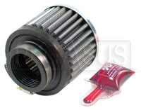 Click for a larger picture of K&N Rubber Base Crankcase Vent Filter, 2.5 H x 3.0 D, 1.5 ID