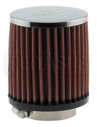 "Click for a larger picture of K&N VW Solex Round Filter, 2.06 Flange, 3.5 D x 4"" H, Chrome"