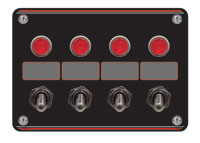 Click for a larger picture of Switch Panel: 4 Accessory Switches with Pilot Lights & Boots
