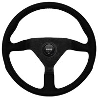Click for a larger picture of MOMO Monte Carlo Alcantara Steering Wheel, Blk/Blk, 350 mm