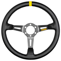 Click for a larger picture of MOMO Model 08 Steering Wheel, Black, Smooth Leather, 350mm